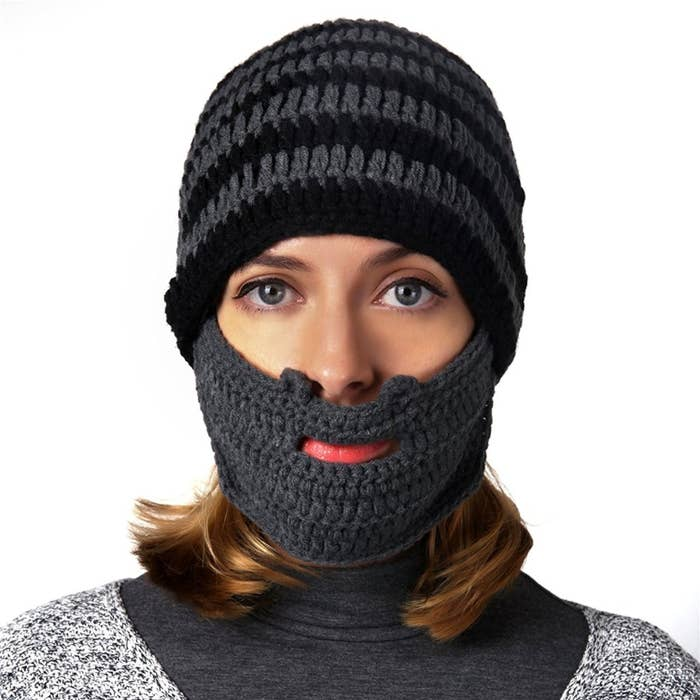 49f03e99ce6 A knit beanie with a built-in beard so you can enjoy the warmth of facial  hair without having to invest in beard oil.