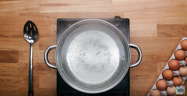 You poach your eggs in full-on boiling water.