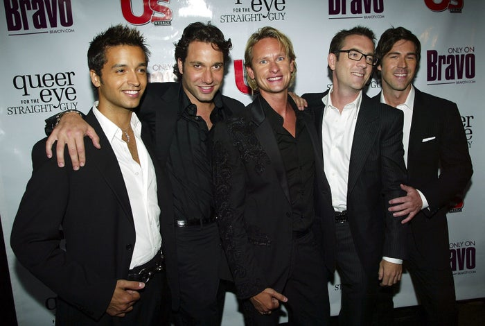 Jai Rodriguez, Thom Filicia, Carson Kressley, Ted Allen, and Kyan Douglas at the 2003 premiere of Queer Eye.