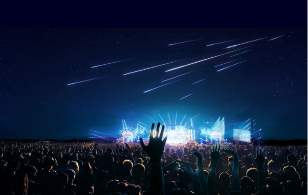 Artist's depiction of an a artificial shooting star sky show.