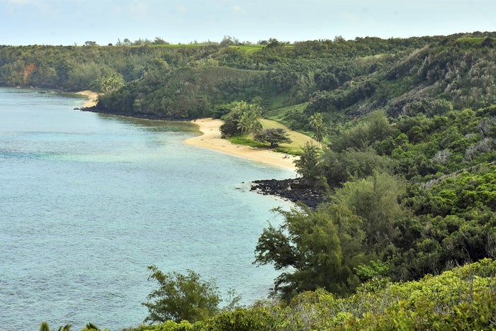 Hawaii's public Pilaa Beach, center, below hillside and ridge top land owned by Facebook CEO Mark Zuckerberg.