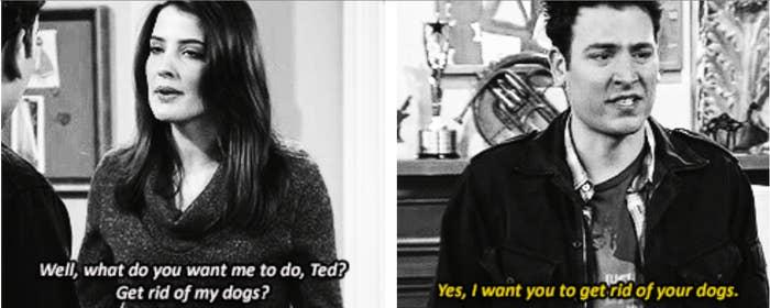 Ted no solo le dice a Robin que tiene que deshacerse de sus perros porque son de sus ex, ¡sino que después le miente para quedarse con las cosas que las ex le regalaron!– jcb3262