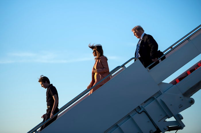 Trump arriving at Palm Beach International Airport on Friday.