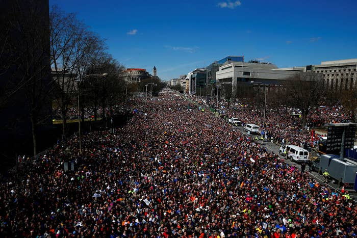 Protesters flood Pennsylvania Avenue during the March for Our Lives in Washington, DC.