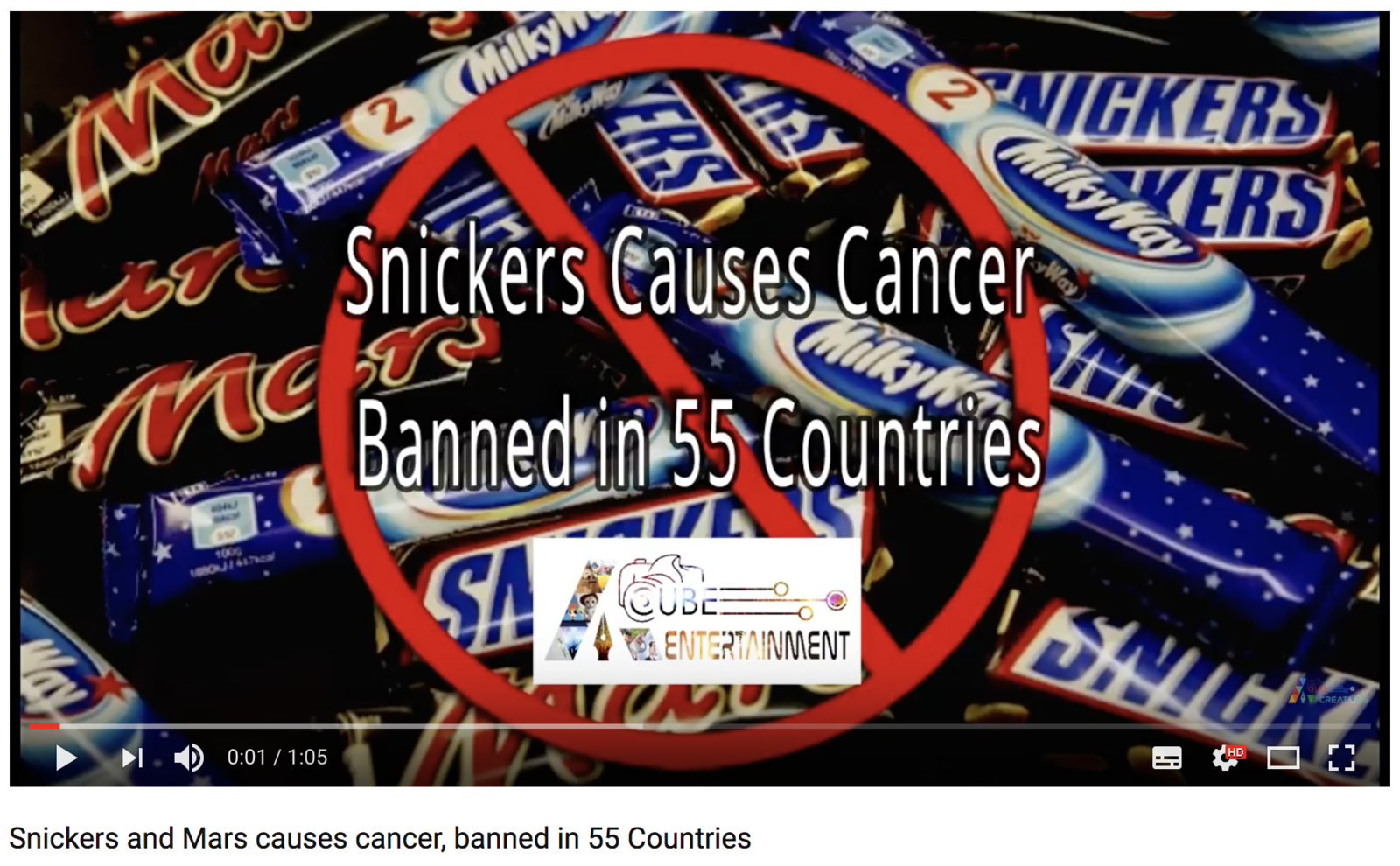 A False Claim That Snickers Chocolate Bars Cause Cancer Is