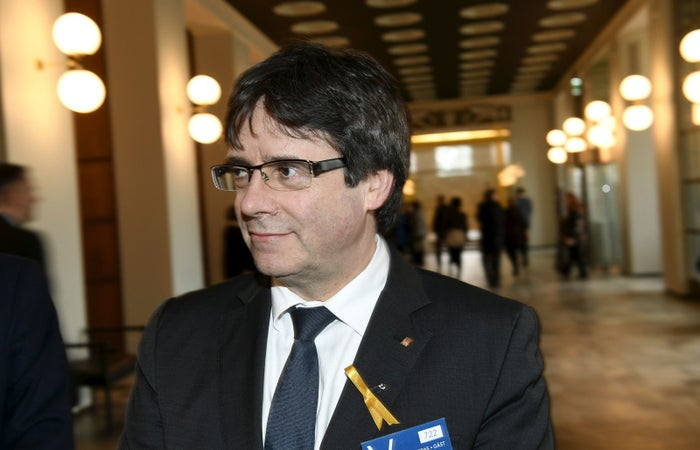 Catalonia's deposed leader Carles Puigdemont visits the Finnish Parliament in Helsinki.