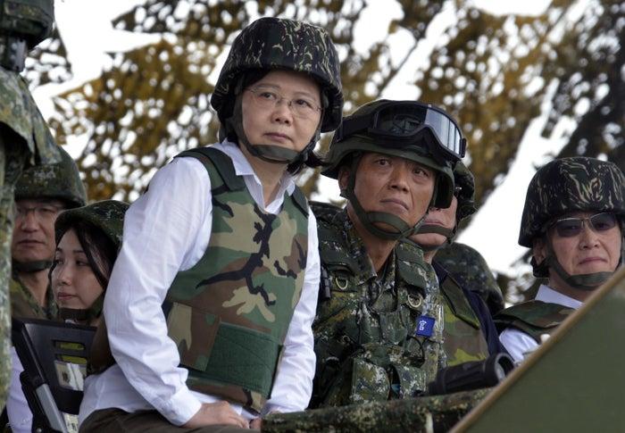 Taiwan President Tsai Ing-wen watches a military exercise.
