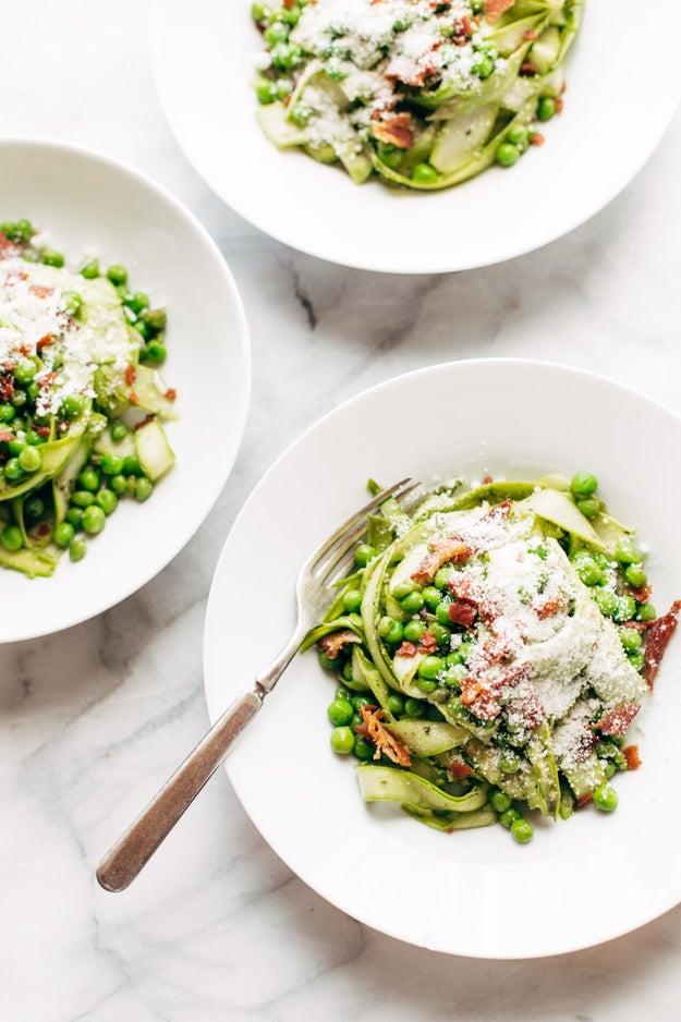 Pesto Asparagus Noodles
