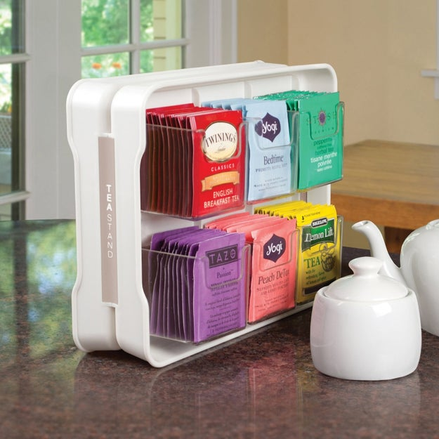 Or a tea bag organizer that holds over 100 of 'em, if tea time is more your vibe.