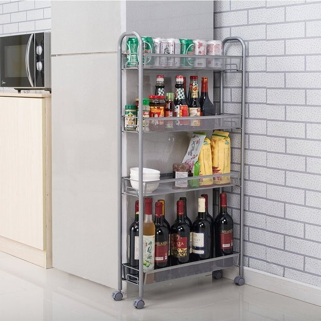 A chic little four-tier rack narrow enough to fit in the tightest spaces that'll hold everything from sauces, oils, and seasonings to wine bottles and small bowls.