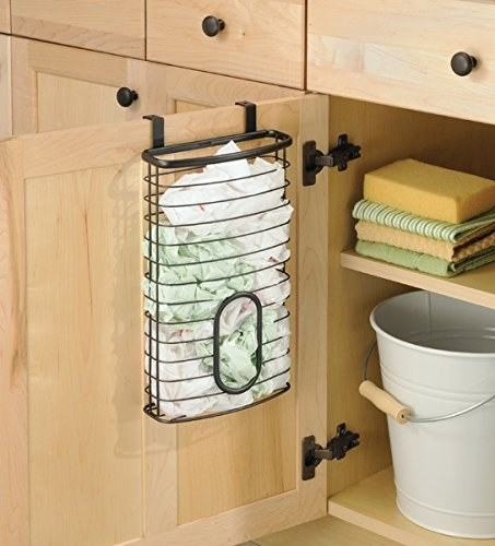 A plastic-bag holder, so you can finally start being civilized and stop storing your plastic bags inside another plastic bag in a random drawer.