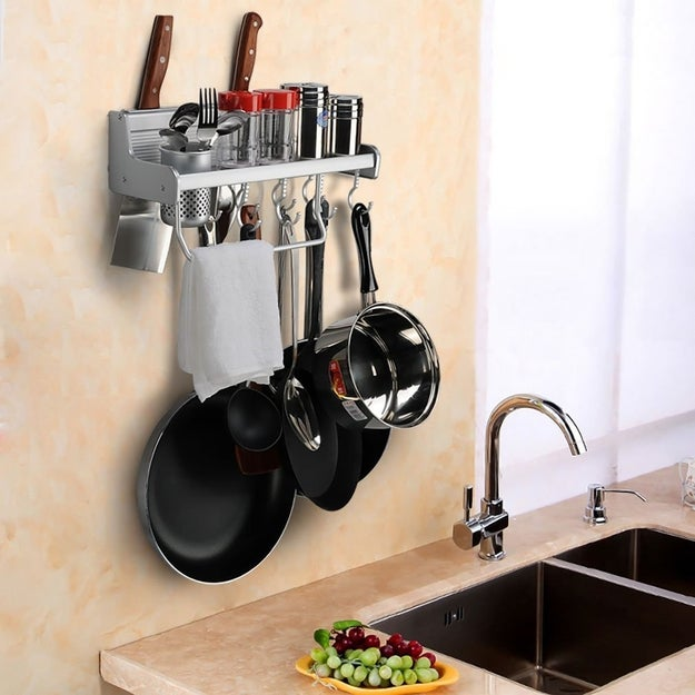 A mounted rack for your pots and pans that, tbh, you know you've been thinking about getting for forever, so maybe you should just take this as a sign that the time is now.