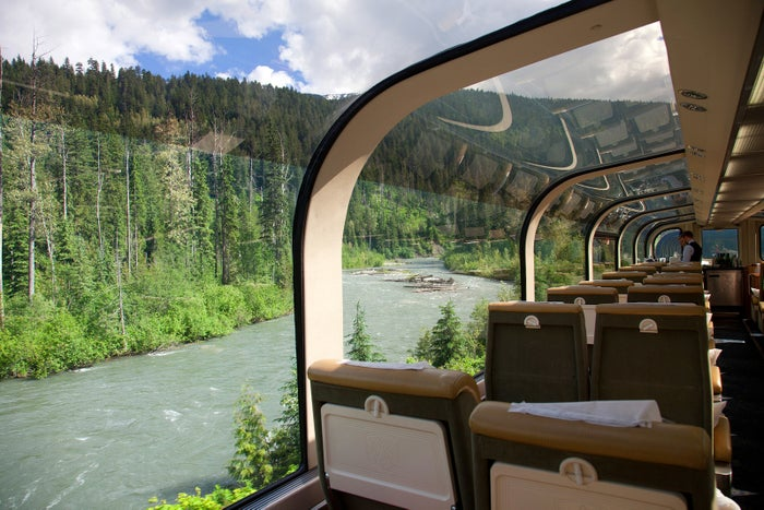 Arguably some of Canada's most scenic railways, the four routes conducted by the Rocky Mountaineer offer sweeping views of the Canadian Rockies, seen from wide, panoramic glass windows.