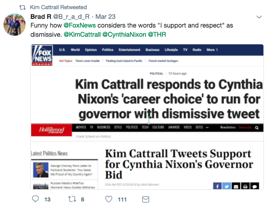 """Cattrall retweeted someone who referenced a Fox News article about her tweet and said, """"Funny how Fox News considers the words 'I support and respect' as dismissive."""""""