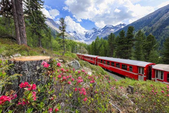 The Bernina Express train makes its way through breathtaking views of the Alps followed by a stunning descent into the Italian scenery below.