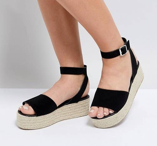 081bc3a387f2 A pair of platform sandals designed with a woven base that will really  speak to your sole.