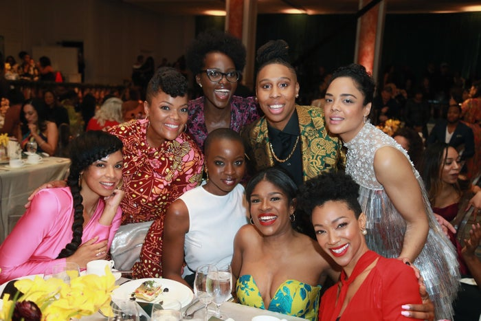 Clockwise from left: Susan Kelechi Watson, Yvette Nicole Brown, Lupita Nyong'o, Honoree Lena Waithe, Honoree Tessa Thompson, Sonequa Martin-Green, Edwina Findley Dickerson, and Honoree Danai Gurira attend the 2018 Essence Black Women in Hollywood Oscars Luncheon in Beverly Hills.