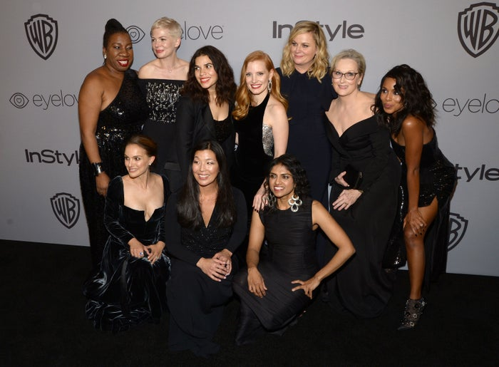 Attendees at the 19th Annual InStyle and Warner Bros. Pictures Golden Globe afterparty on Jan. 7. Top, from left: activist Tarana Burke, actors Michelle Williams, America Ferrera, Jessica Chastain, Amy Poehler, Meryl Streep, and Kerry Washington. Bottom, from left: actor Natalie Portman and activists Ai-jen Poo and Saru Jayaraman.