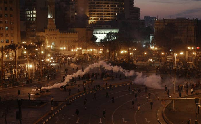 Tear gas fired by Egyptian police during a protest in central Cairo on Jan. 25, 2011.