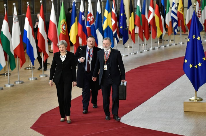 Theresa May on March 23 in Brussels