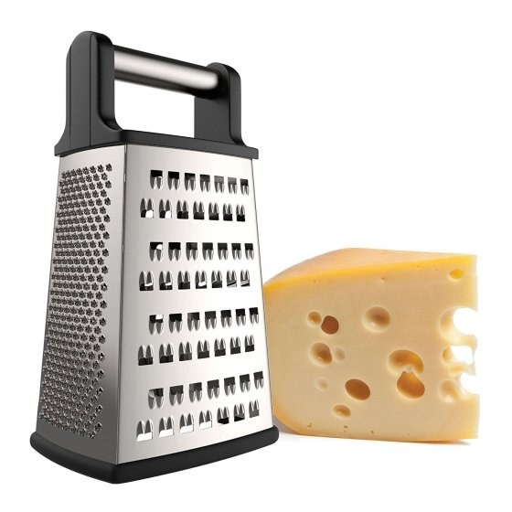 Grate your own cheese with a sturdy cheese grater.