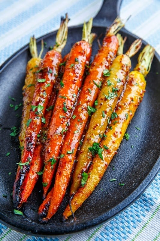 Carrots have never tasted so delicious (or looked so beautiful). They're marinated in maple syrup, mustard, miso paste, rice vinegar, soy sauce, and garlic and roasted until tender and slightly sweet. Get the recipe.