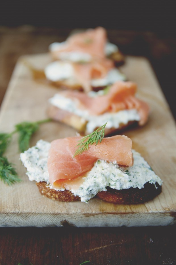 Salmon Lemon Herb Ricotta Crostini