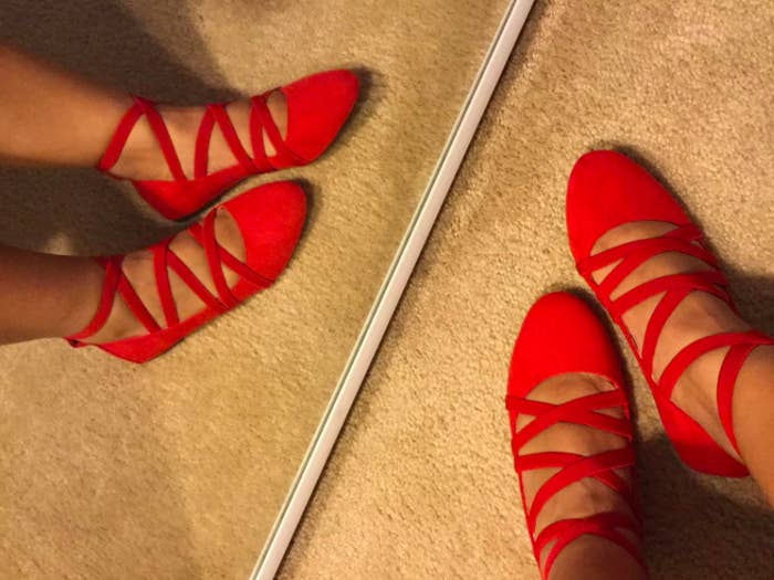 """Promising review: """"I originally was looking for red shoes for a costume, but I'm too practical for one-time-use items so instead I looked for cute and comfy that I could wear more than once! These shoes are exactly that! These never fail me in the comfort department, and as for style, they definitely are as the picture shows! My suggestion would be to size up. I ordered a 7. My foot is also both on the narrower side but I'm flat-footed."""" —GmaDIAZ Get them from Amazon for $16 (available in sizes 6-10 and in red, black, and taupe)."""