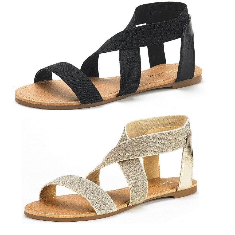 Ankle-strap sandals with an elastic strap, to get the stretch and movement  you need from a summer shoe.