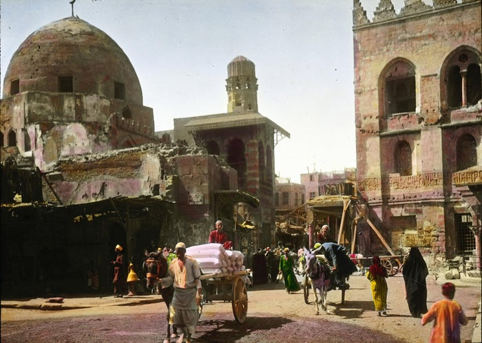 The Kalaoun Mosque in Cairo documented on a hand-colored lantern slide.