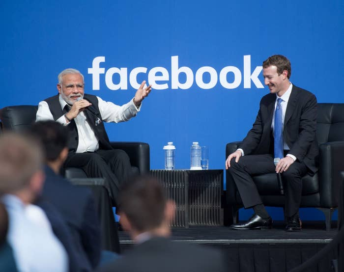 Indian Prime Minister Narendra Modi and Facebook CEO Mark Zuckerberg attend a town hall meeting at Facebook headquarters in Menlo Park, California.