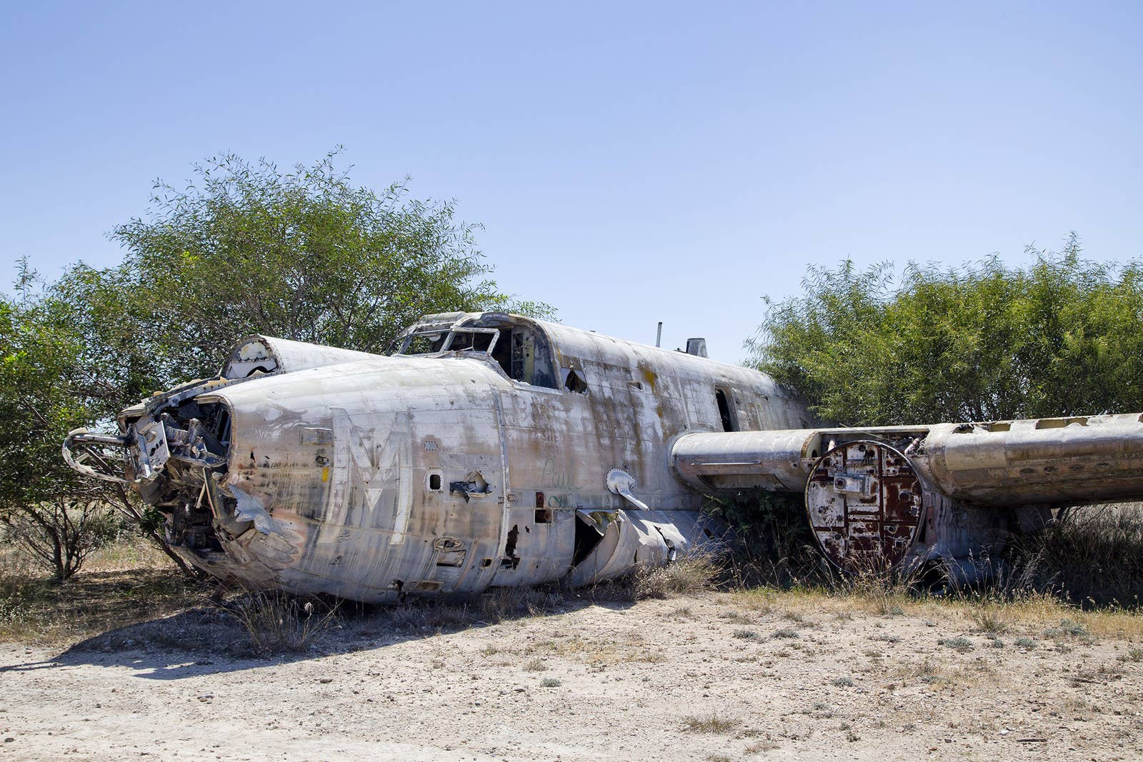 The remains of Avro Shackleton, a British long-range maritime patrol aircraft, at the abandoned Nicosia International Airport.