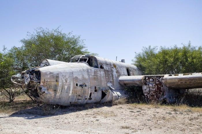 The remains of Avro Shackleton, a British long-range maritime patrol aircraft, at the abandoned Nicosia International Airport.