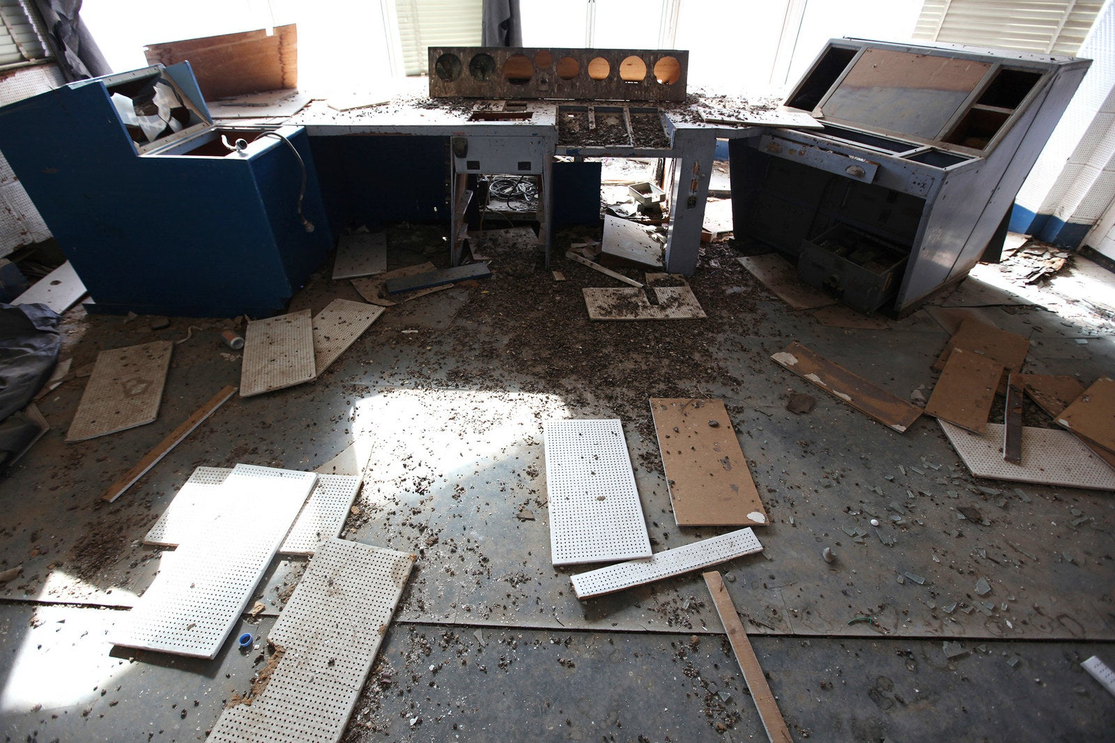 The damaged control tower is left in ruins.