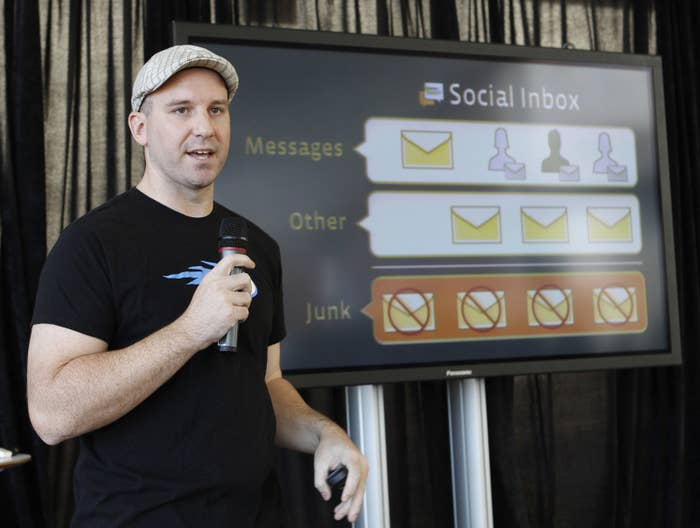 Andrew Bosworth talks about the new Facebook messaging service at an announcement in San Francisco, Nov. 15, 2010.