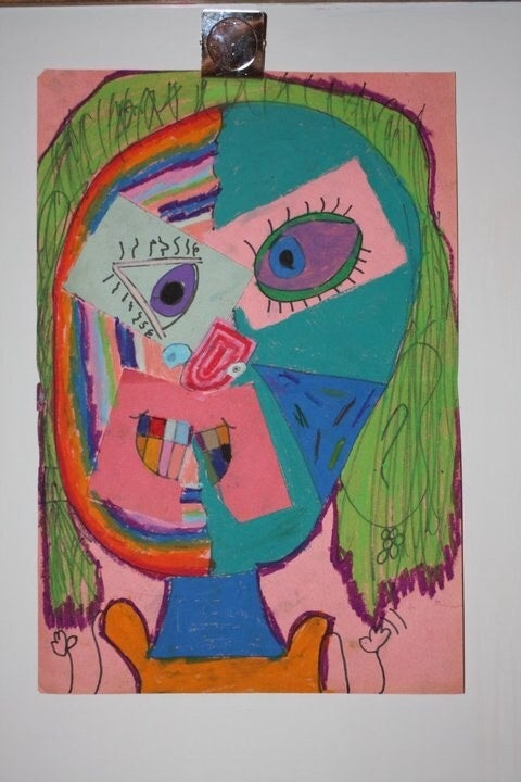 "Chloe Wakeman, then 6, copying the style of Pablo Picasso's ""Dora Maar au Chat"" for Bailey's class."