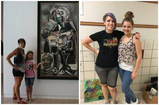 Left: Chloe Wakeland, then 9, at the Dallas Museum of Art with Bailey. Right: Bailey and Wakeland, 13.