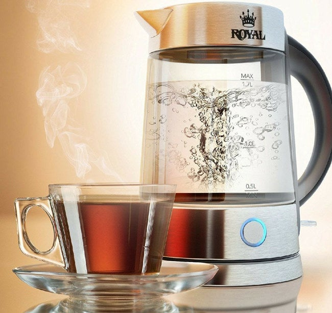 """The electric kettle features a bright LED light, anti-slip grip, and heat-resistant handle. Promising review: """"I used this upon receiving it to make an evening cup of tea and it was a treat. It heats up so quickly, and the blue right really does make the bubbles look like they're dancing as the water comes to a boil. Overall, the unit appears to be very well-designed and well-made. It is also well-balanced and was easy to pour without spilling. And I love the comfortable grip of the handle. My cheap, grocery-store-bought, stove-top kettle — that never did whistle — is going in the trash. Immediately."""" —Caroline Price: $41.99"""