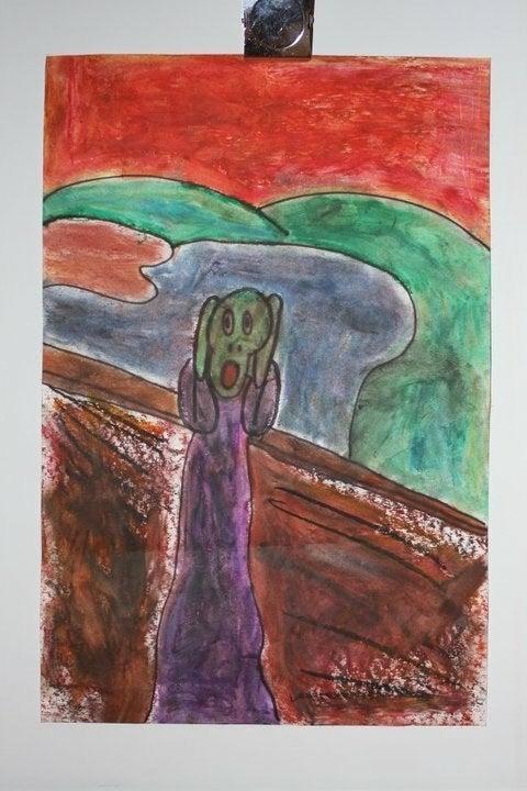 "Chloe's interpretation of Edvard Munch's ""The Scream,"" age 7, from Bailey's art class."