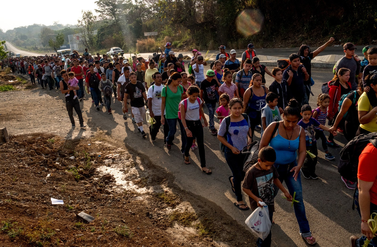 Image result for images of the caravan heading north from central america