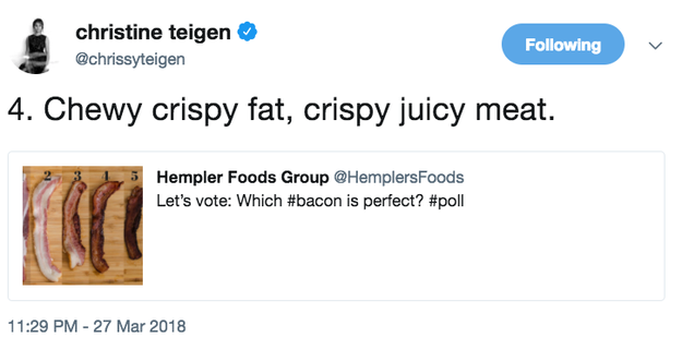And in the blue corner we have vegetarians, who are not in the slightest bit happy with Chrissy's recent tweet where she chose her favourite kind of bacon.