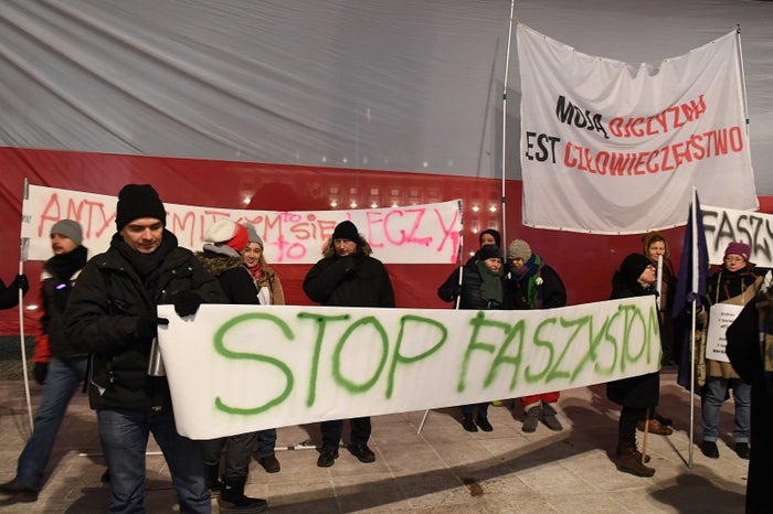 Protesters in Warsaw on Feb. 5.