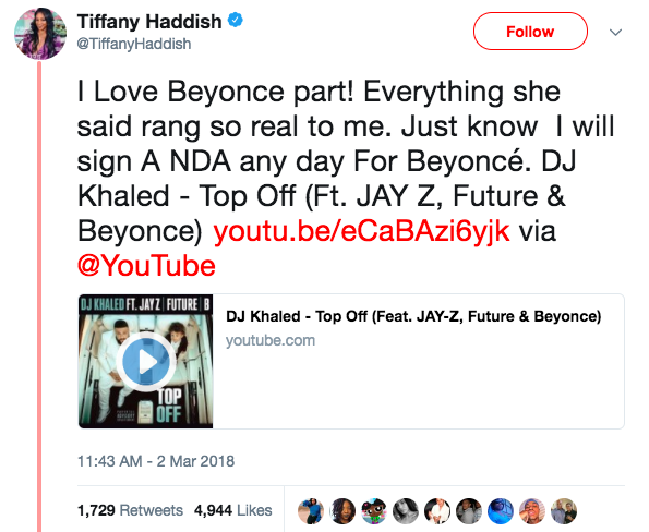And so now Tiffany has responded to Bey's alleged diss on Twitter, saying she will sign an NDA: