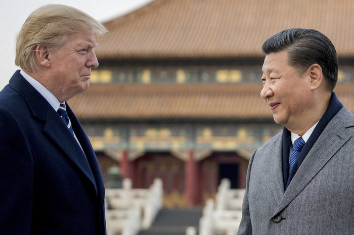 President Donald Trump and Chinese President Xi Jinping tour the Forbidden City on Nov. 8, 2017, in Beijing.