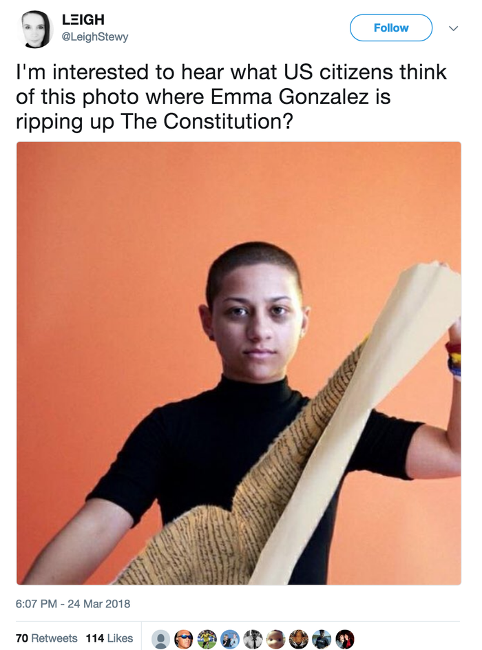 The doctored photos were ripped from a recent Teen Vogue cover story that featured a GIF of González tearing up a shooting target sheet. Conservative accounts against the Parkland student movement #NeverAgain ran with the photoshopped image and it began spreading quickly on Twitter. Since then, even more memes and photoshops are cropping up to try to disparage and troll student leaders of the movement.