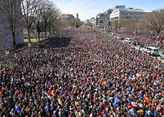People fill Pennsylvania Avenue during the March for Our Lives rally in support of gun control, on March 24, in Washington, DC.