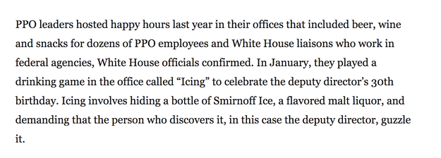 """And apparently, in the Trump administration. According to the Washington Post, workers in an """"obscure White House office"""" celebrated their deputy director's 30th birthday earlier this year by icing him."""