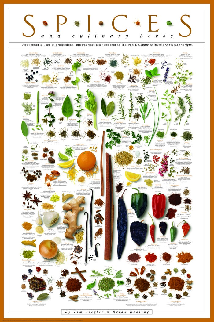 """BAM!Get it from Amazon for $14.99.Promising review: """"This poster is stunning. We of course hung it in our kitchen. I framed it in a Craig Frames 24x36 frame and it looks perfect. There is SO MUCH DETAIL to the many pictures and all the text (and all the TEXT IS READABLE!). Plus, it has multiple versions of the spices, like in ground or granulated form in addition to its natural form. Love that it has some of the most famous spice blends like curry, garam masala, Chinese five spice, herbs de provence, and pickling spices. This is such a great centerpiece of art for a kitchen. People will love to comment on it and ask questions about it as well as just look at it for a long time."""" —Roderick Rinehart"""
