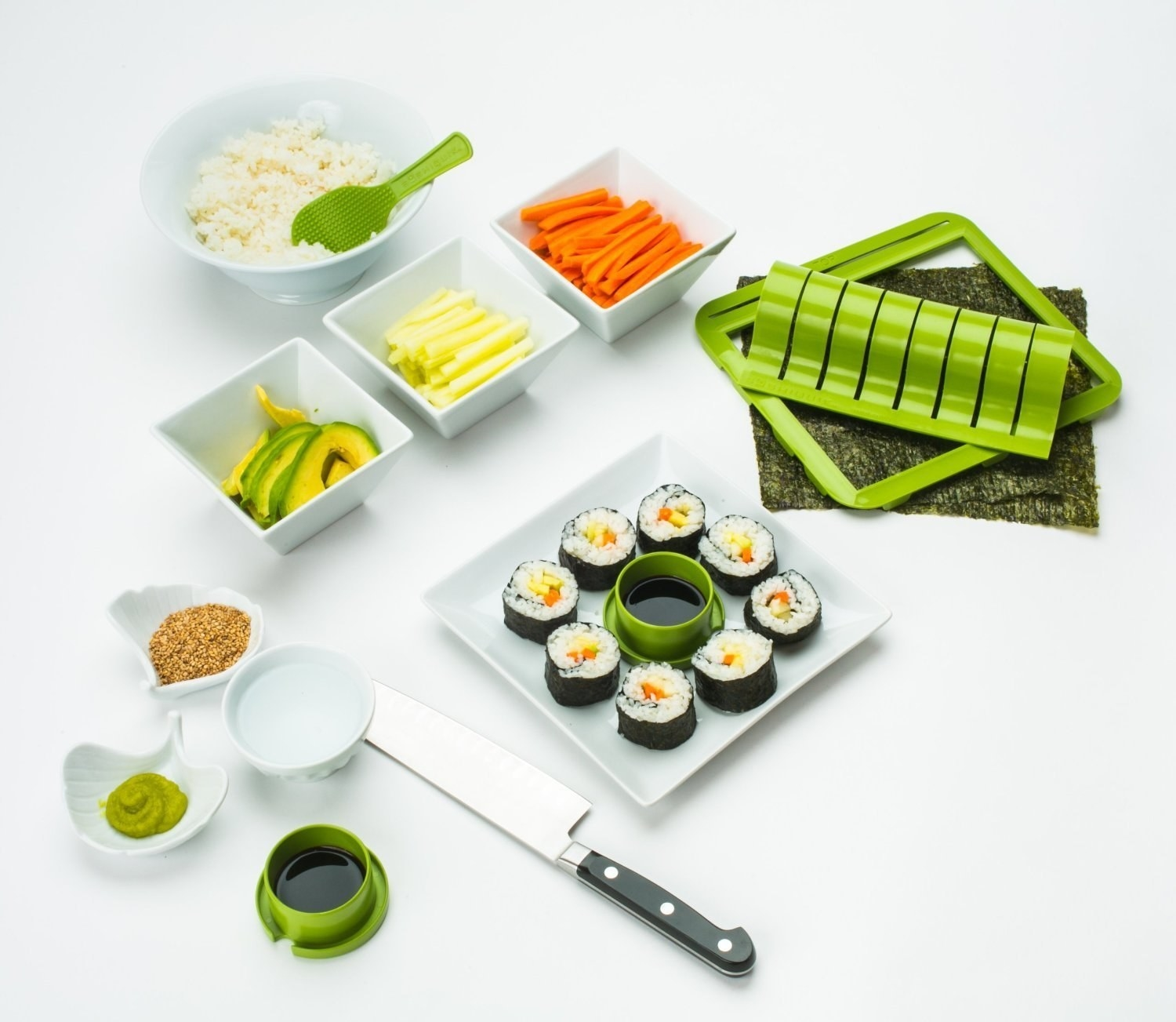 The kit, staged with sushi and ingredients