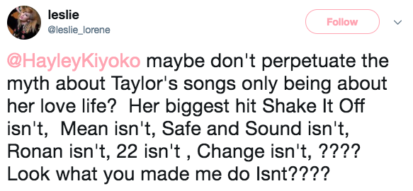 Now, Hayley was simply pointing out a homophobic double standard — but some Taylor Swift fans got defensive about the comment anyway.